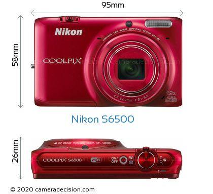 Nikon S6500 Body Size Dimensions