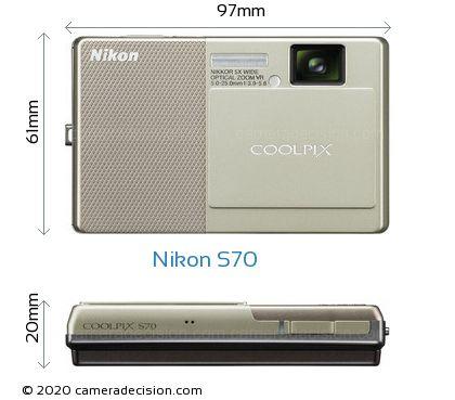 Nikon S70 Body Size Dimensions