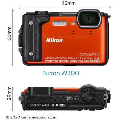 Nikon W300 Body Size Dimensions