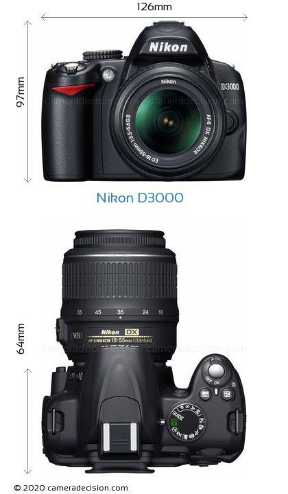 Nikon D3000 Body Size Dimensions