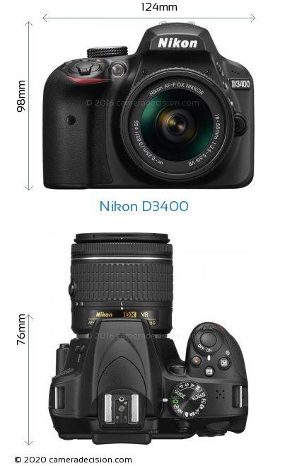 Nikon D3400 Body Size Dimensions