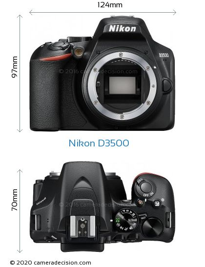 Nikon D3500 Body Size Dimensions