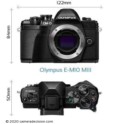 Olympus E-M10 MIII Body Size Dimensions