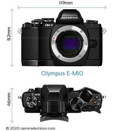 Olympus E-M10 Body Size Dimensions