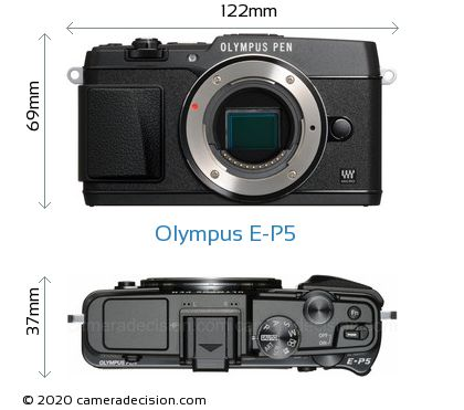Olympus E-P5 Body Size Dimensions