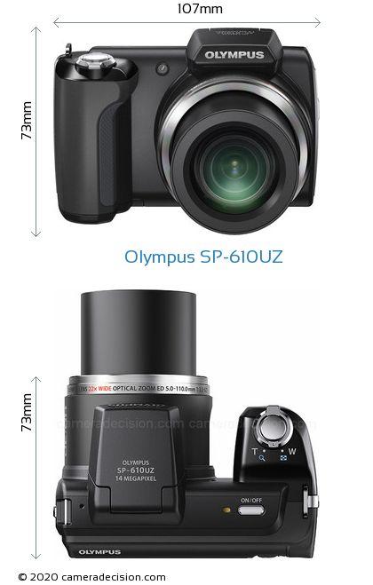 Olympus SP-610UZ Body Size Dimensions