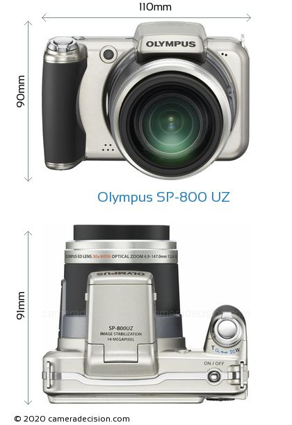 Olympus SP-800 UZ Body Size Dimensions