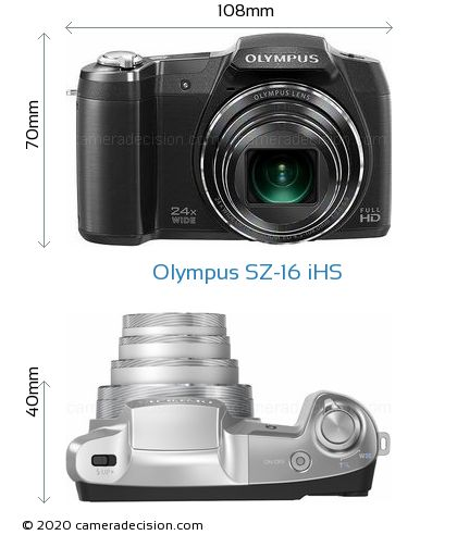Olympus SZ-16 iHS Body Size Dimensions