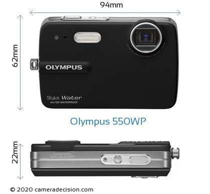 Olympus 550WP Body Size Dimensions