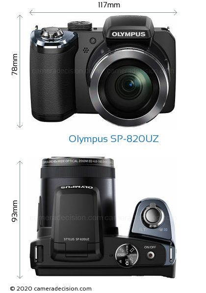 Olympus SP-820UZ Body Size Dimensions