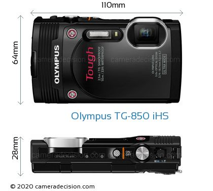 Olympus TG-850 iHS Body Size Dimensions
