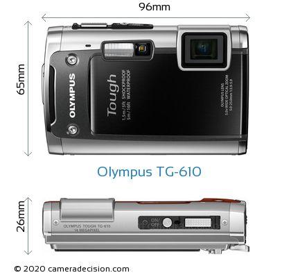 Olympus TG-610 Body Size Dimensions
