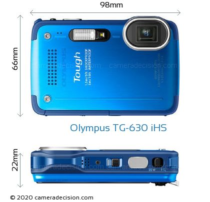 Olympus TG-630 iHS Body Size Dimensions