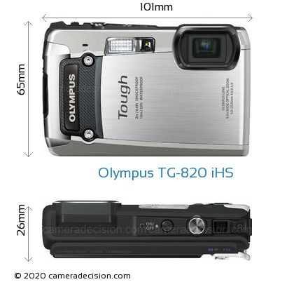Olympus TG-820 iHS Body Size Dimensions