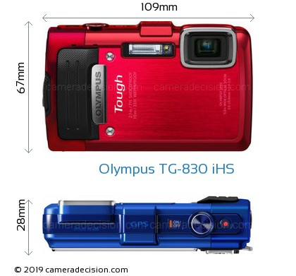 Olympus TG-830 iHS Body Size Dimensions