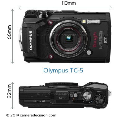 Olympus TG-5 Body Size Dimensions