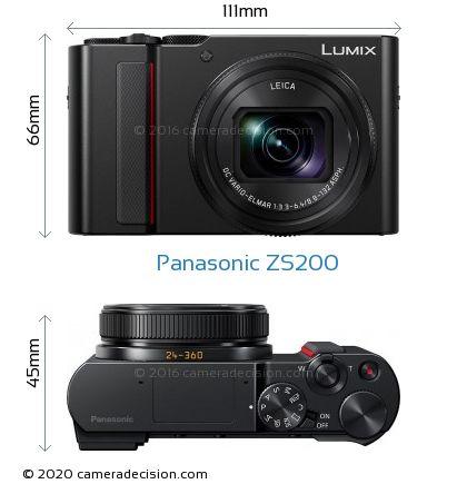 Panasonic ZS200 Body Size Dimensions