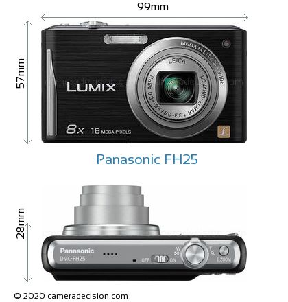Panasonic FH25 Body Size Dimensions