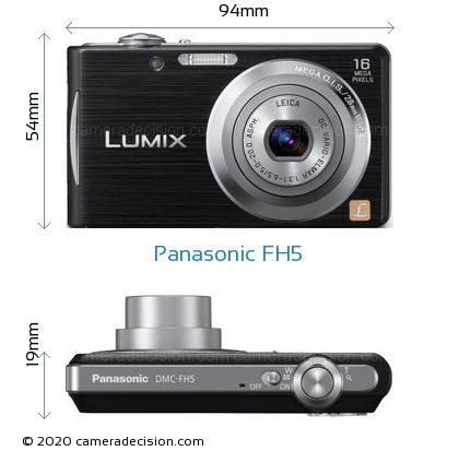Panasonic FH5 Body Size Dimensions