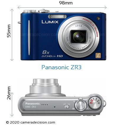 Panasonic ZR3 Body Size Dimensions