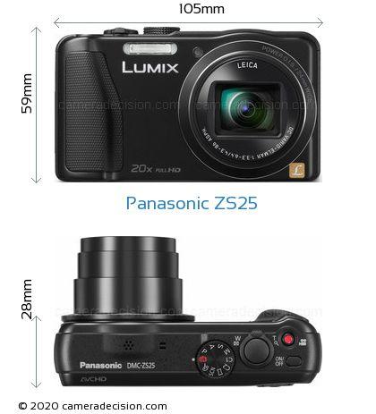 Panasonic ZS25 Body Size Dimensions