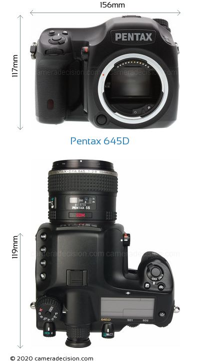 Pentax 645D Body Size Dimensions