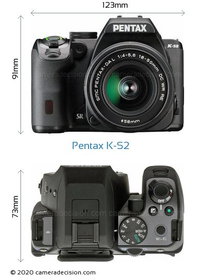 Pentax K-S2 Body Size Dimensions