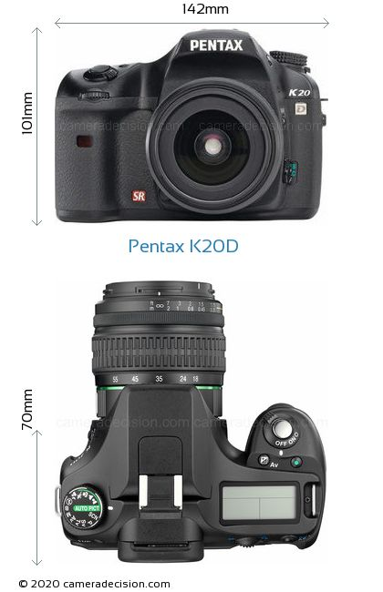 Pentax K20D Body Size Dimensions