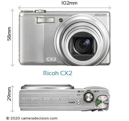 Ricoh CX2 Body Size Dimensions