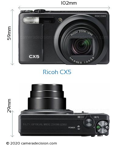 Ricoh CX5 Body Size Dimensions