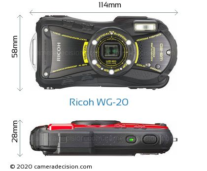 Ricoh WG-20 Body Size Dimensions
