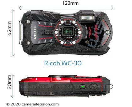 Ricoh WG-30 Body Size Dimensions