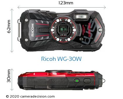 Ricoh WG-30W Body Size Dimensions