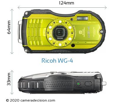 Ricoh WG-4 Body Size Dimensions