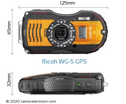 Ricoh WG-5 GPS Body Size Dimensions