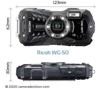 Ricoh WG-50 Body Size Dimensions