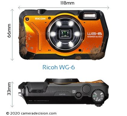 Ricoh WG-6 Body Size Dimensions