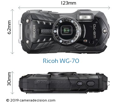 Ricoh WG-70 Body Size Dimensions