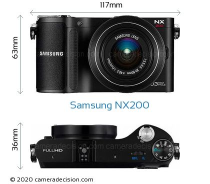 Samsung NX200 Body Size Dimensions