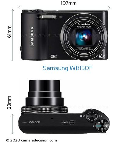 Samsung WB150F Body Size Dimensions