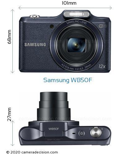Samsung WB50F Body Size Dimensions