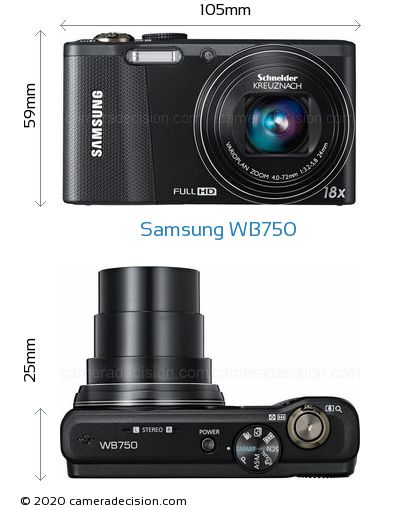 Samsung WB750 Body Size Dimensions