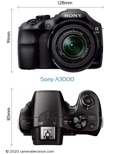Sony A3000 Body Size Dimensions