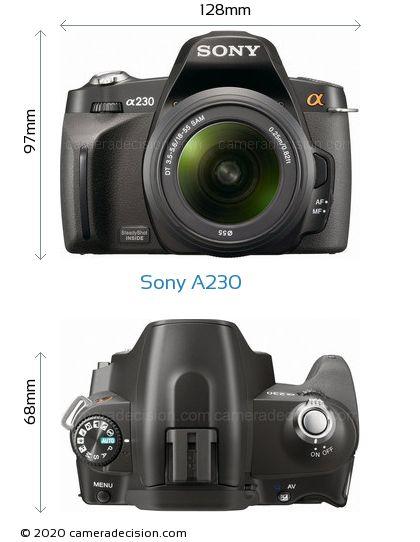 Sony A230 Body Size Dimensions