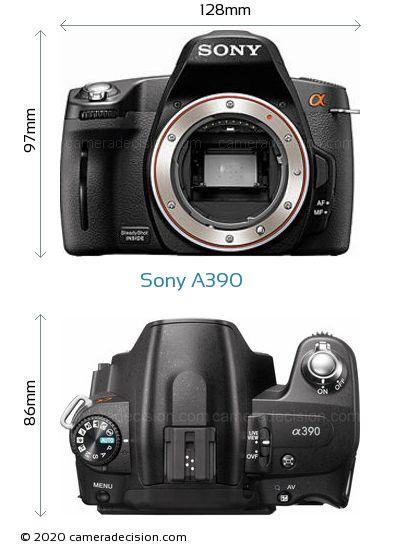 Sony A390 Body Size Dimensions