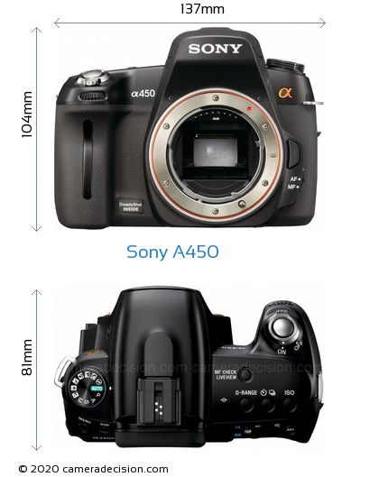 Sony A450 Body Size Dimensions