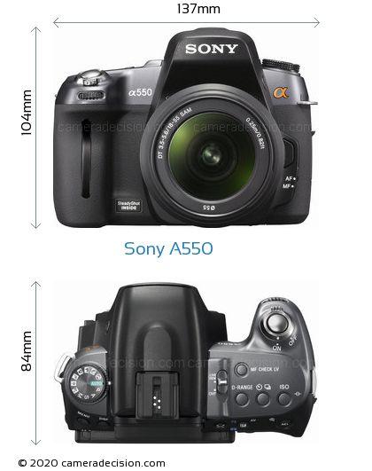 Sony A550 Body Size Dimensions