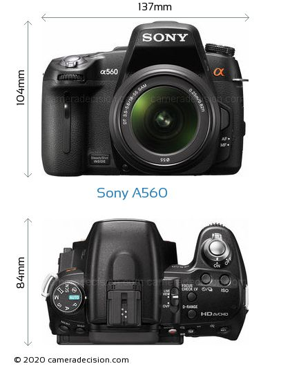 Sony A560 Body Size Dimensions