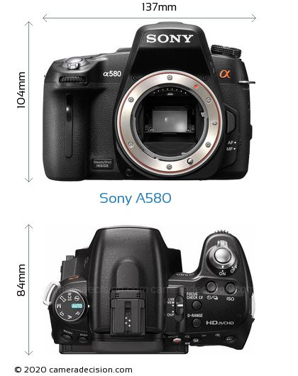 Sony A580 Body Size Dimensions