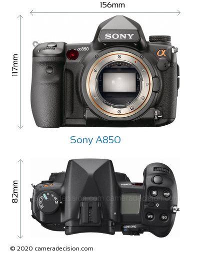 Sony A850 Body Size Dimensions